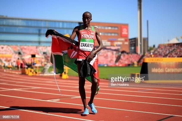 Edward Zakayo Pingua of Kenya celebrates winning gold during the final of the men's 5000m on day five of The IAAF World U20 Championships on July 10...