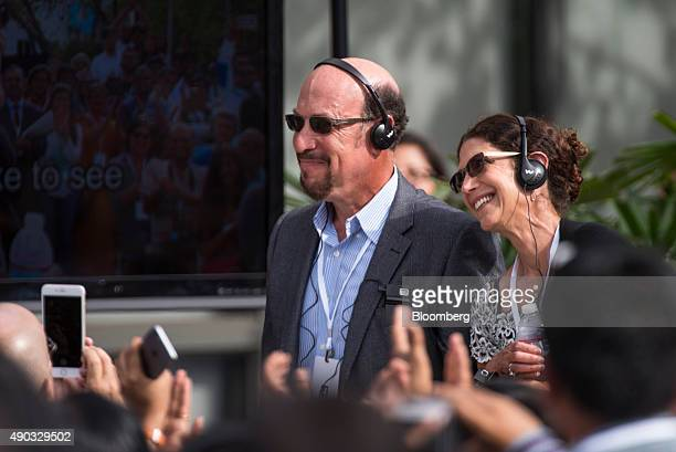 Edward Zuckerberg and Karen KempnerZuckerberg the parents of Mark Zuckerberg chief executive officer of Facebook Inc stand at the request of Narendra...
