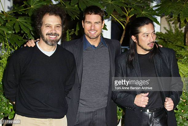 Edward Zwick Tom Cruise and Hiroyuki Sanada during The Last Samurai Paris Photocall at Ritz Hotel in Paris France