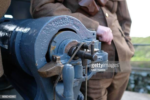 Edwardian 12 pounder quick firing gun on March 28 2018 in Falmouth England English Heritage are warning that many of the historic cannons around the...