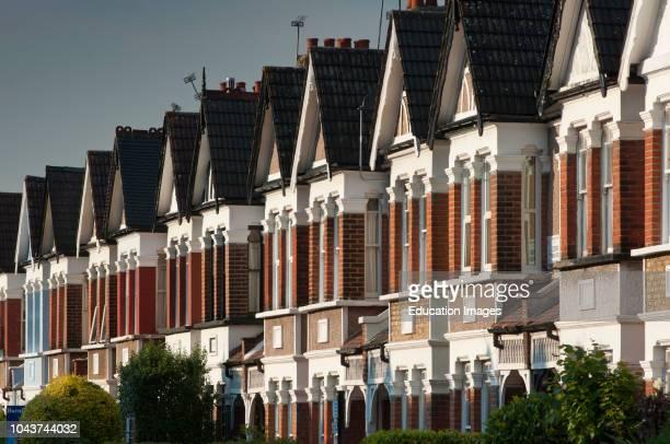 Edwardian terraced houses in Enfield London UK