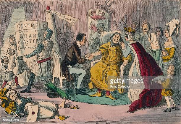 Edward's Arm in the hands of his Medical Advisers, 1850. Possibly a satire of Edward I during the crusades. From The Comic History of England by...