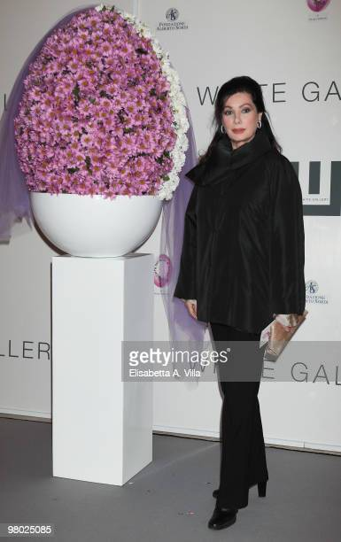 Edwige Fenech attends L'Arte Nell'Uovo Di Pasqua Charity Event at the White Gallery on March 24 2010 in Rome Italy