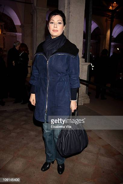 Edwige Fenech attends the Percorso Di Lavoro photography exhibition cocktail party held at Chiostro Del Bramante on February 15 2011 in Rome Italy