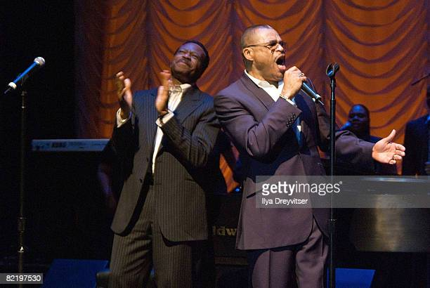 Edwin and Walter Hawkins perform for guests at GRAMMY Salute to Gospel Music at the Lincoln Theatre on June 18 2008 in Washington DC