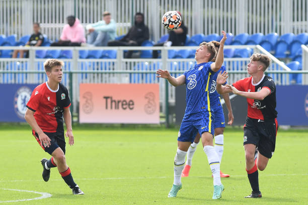 Edwin Andersson of Chelsea heads that ball during the Chelsea v Blackburn Rovers U18 Premier League Cup Group D on September 18, 2021 in Cobham,...