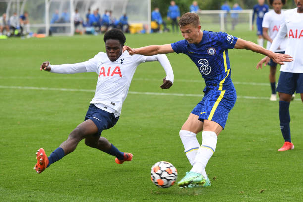 Edwin Andersson of Chelsea scores the seventh goal during the Tottenham Hotspur v Chelsea U18 Premier League match at Tottenham Hotspur Training...