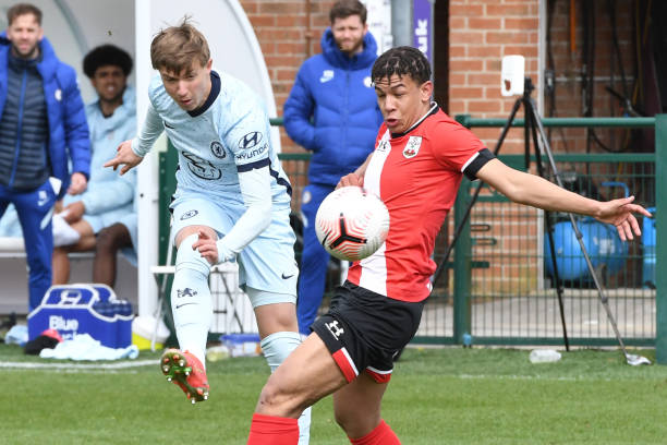 Edwin Andersson of Chelsea scores the third goal during the Southampton v Chelsea U18 Premier League match on March 27, 2021 in Southampton, England.