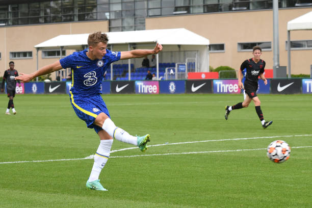 Edwin Andersson of Chelsea shoots for goal during the Chelsea v West Bromwich Albion U18 Premiere League match on August 14th, 2021 in Cobham,...
