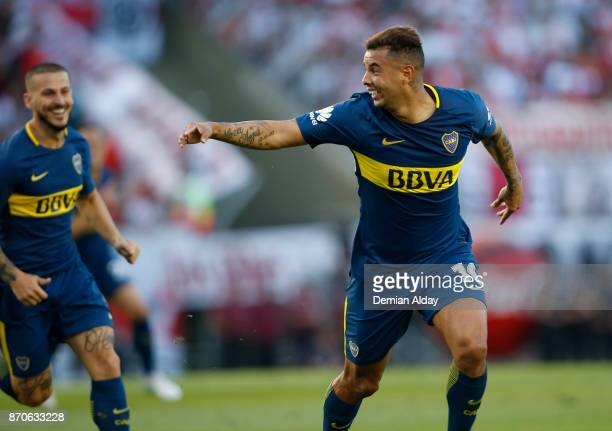 Edwin Cardona of Boca Juniors celebrates after scoring the first goal of his team during a match between River Plate and Boca Juniors as part of the...