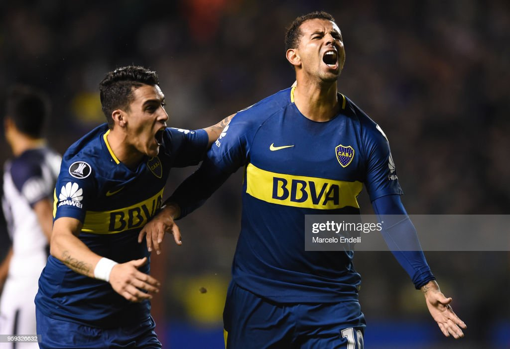 Edwin Cardona of Boca Juniors celebrates after scoring the first goal of his team during a match between Boca Juniors and Alianza Lima at Alberto J. Armando Stadium on May 16, 2018 in La Boca, Argentina.