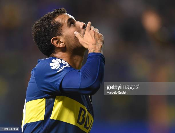 Edwin Cardona of Boca Juniors celebrates after scoring the first goal of his team during a match between Boca Juniors and Alianza Lima at Alberto J...