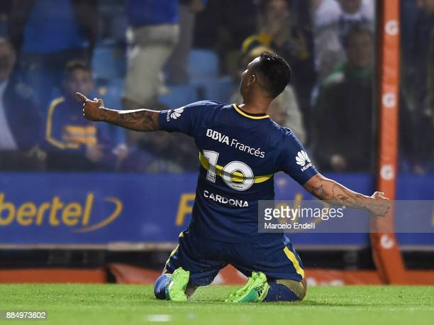 Edwin Cardona of Boca Juniors celebrates after scoring the second goal of his team during a match between Boca Juniors and Arsenal as part of the...