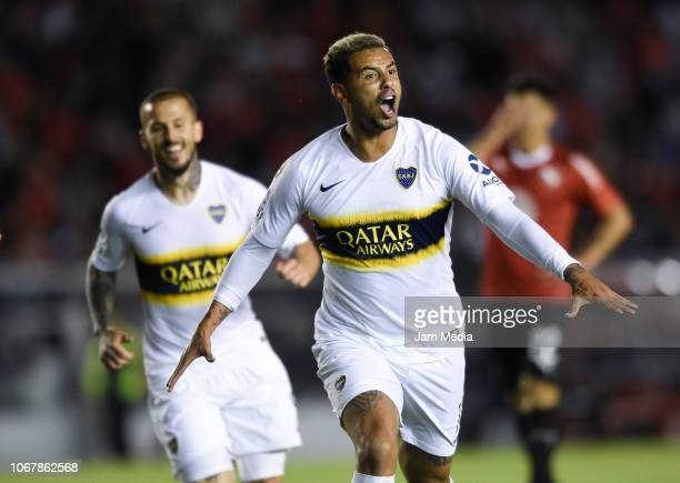 Edwin Cardona of Boca Juniors celebrates his side's first goal during a match between Independiente and Boca Juniors as part of Superliga 2018 at...