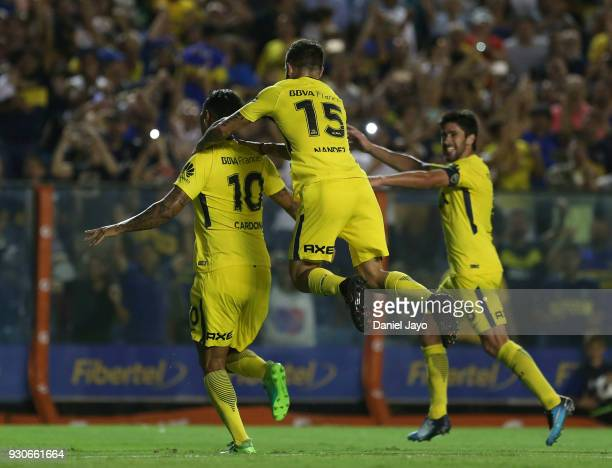 Edwin Cardona of Boca Juniors celebrates with teammates after scoring during a match between Boca Juniors and Tigre as part of the Superliga 2017/18...