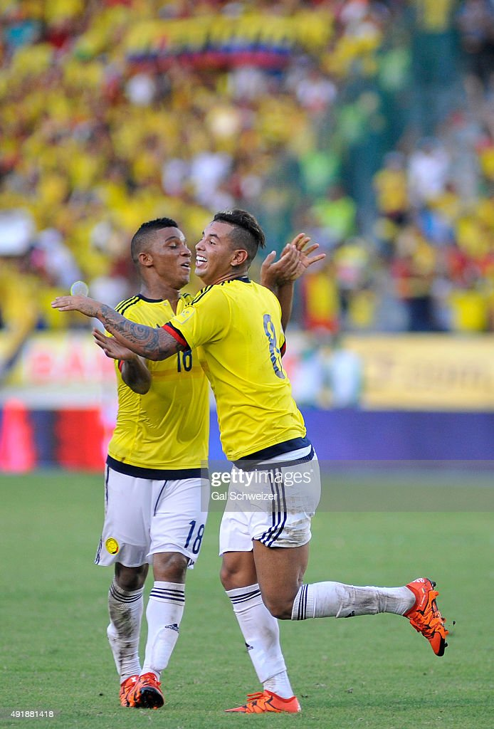 Edwin Cardona of Colombia celebrates with Frank Fabra after scoring the second goal of his team during a match between Colombia and Peru as part of FIFA 2018 World Cup Qualifier at Metropolitano Roberto Melendez Stadium on October 08, 2015 in Barranquilla, Colombia.