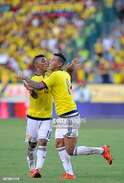 Edwin Cardona of Colombia celebrates with Frank Fabra after scoring the second goal of his team during a match between Colombia and Peru as part of...