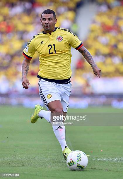 Edwin Cardona of Colombia drives the ball during a match between Colombia and Chile as part of FIFA 2018 World Cup Qualifiers at Metropolitano...