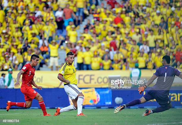 Edwin Cardona of Colombia shoots to score the second goal of his team during a match between Colombia and Peru as part of FIFA 2018 World Cup...