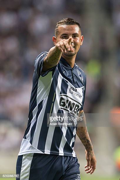 Edwin Cardona of Monterrey celebrates after scoring his team's third goal during the 13th round match between Monterrey and Chiapas as part of the...