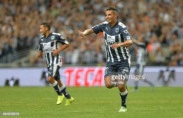 Edwin Cardona of Monterrey celebrates after scoring the opening goal during a 6th round match between Monterrey and Santos Laguna as part of the...
