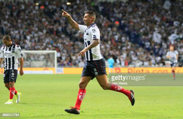 Edwin Cardona of Monterrey celebrates his goal during the 13th round match match between Monterrey and Jaguares as part of the Torneo Clausura 2017...