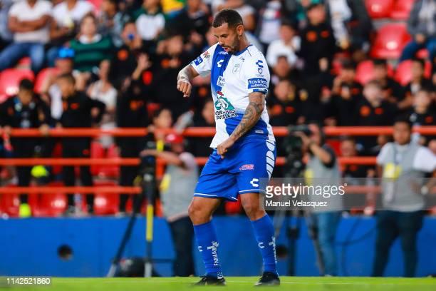 Edwin Cardona of Pachuca celebrates the sixth scored goal during the 14th round match between Pachuca vs Veracruz as part of the Torneo Clausura 2019...