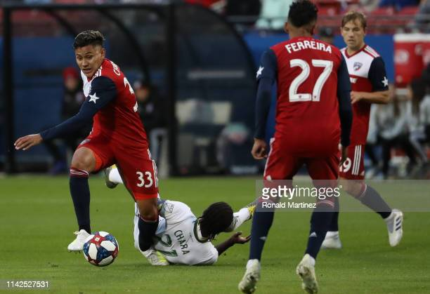 Edwin Cerrillo of FC Dallas dribbles the ball against Diego Chara of Portland Timbers at Toyota Stadium on April 13, 2019 in Frisco, Texas.