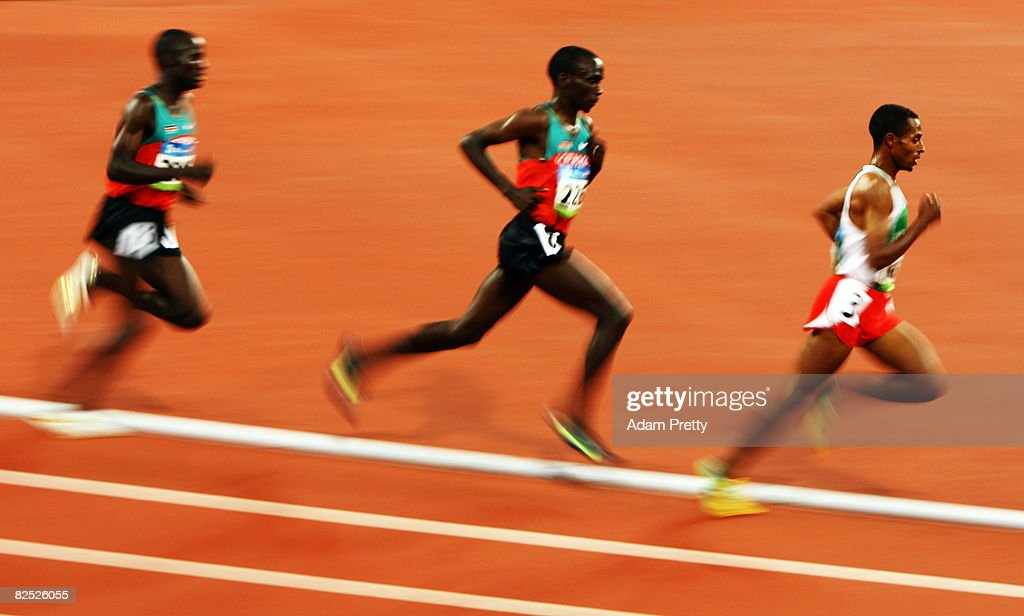 Edwin Cheruiyot Soi of Kenya, Eliud Kipchoge of Kenya and Kenenisa Bekele of Ethiopia compete in the Men's 5000m Final held at the National Stadium on Day 15 of the Beijing 2008 Olympic Games on August 23, 2008 in Beijing, China.