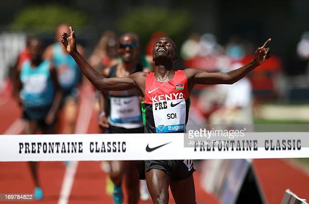 Edwin Cheruiyot Soi of Kenya wins the 5000m during day 2 of the IAAF Diamond League Prefontaine Classic on June 1 2013 at the Hayward Field in Eugene...