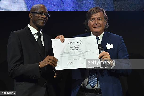 Edwin Corley Moses and Adriano Panatta attend during the Laureus F1 Charity Night 2015 at MercedesBenz Spa on September 3 2015 in Monza Italy