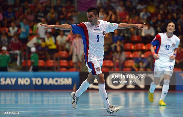 Edwin Cubillo of Costa Rica celebrates after scoring his teams last goal during the FIFA Futsal World Cup Group A match between Paraguay and Costa...