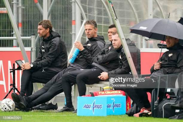 Edwin de Wijs of PSV U23, Peter Uneken of PSV U23, Wilfred Bouma of PSV U23, Frank van Doveren of PSV U23 during the match between PSV U23 v Lommel...