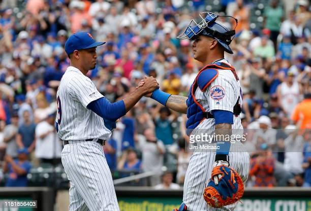 Edwin Diaz and Wilson Ramos of the New York Mets celebrate after defeating the Detroit Tigers at Citi Field on May 26, 2019 in New York City.