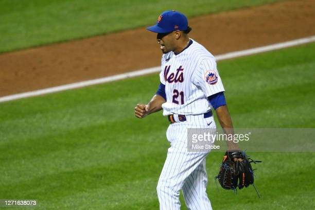 Edwin Diaz of the New York Mets celebrates after defeating the Baltimore Orioles 7-6 at Citi Field on September 09, 2020 in New York City.