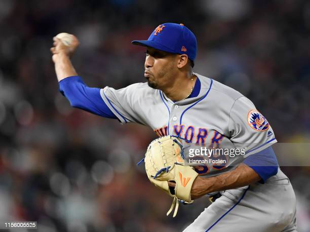 Edwin Diaz of the New York Mets delivers a pitch against the Minnesota Twins during the ninth inning of the interleague game on July 16, 2019 at...