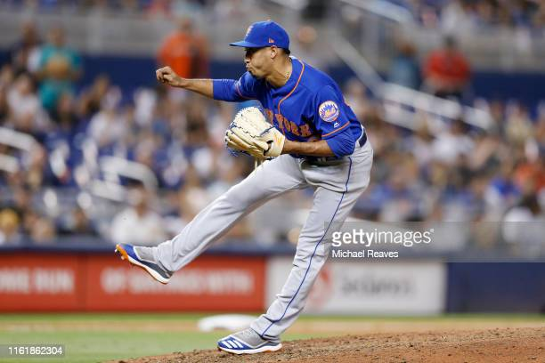 Edwin Diaz of the New York Mets delivers a pitch in the ninth inning against the Miami Marlins at Marlins Park on July 13, 2019 in Miami, Florida.