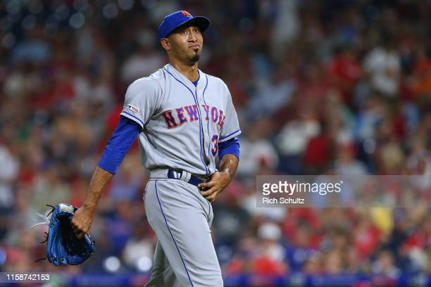 Edwin Diaz of the New York Mets in action against the Philadelphia Phillies during a baseball game at Citizens Bank Park on June 26, 2019 in...