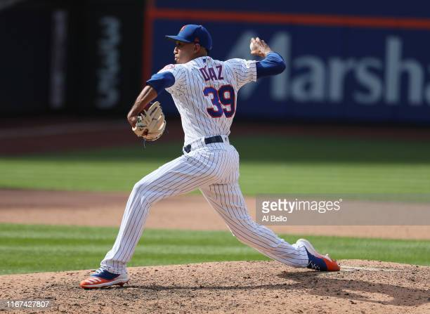 Edwin Diaz of the New York Mets pitches against the Washington Nationals during their game at Citi Field on August 11, 2019 in New York City.