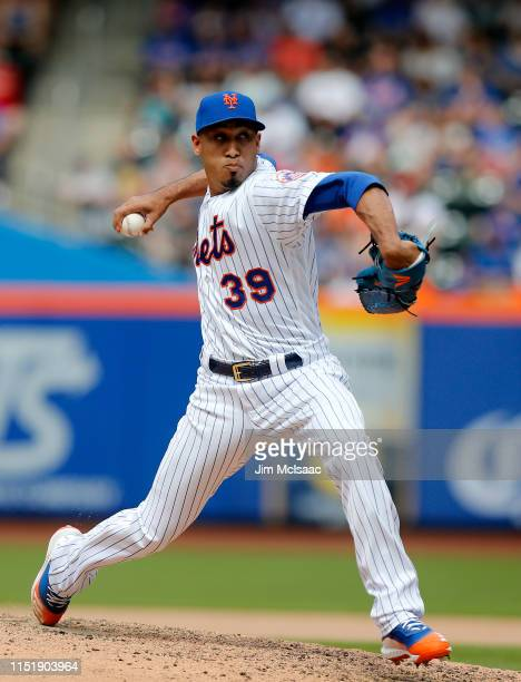 Edwin Diaz of the New York Mets pitches during the ninth inning against the Detroit Tigers at Citi Field on May 26, 2019 in New York City. The Mets...