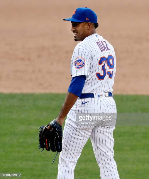 Edwin Diaz of the New York Mets reacts after surrendering a game-tying home run during the ninth inning against the Atlanta Braves at Citi Field on...