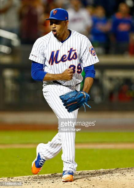 Edwin Diaz of the New York Mets reacts after the final out against the Colorado Rockies at Citi Field on June 8, 2019 in the Flushing neighborhood of...