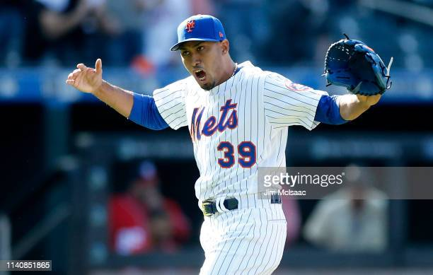 Edwin Diaz of the New York Mets reacts after the final out of a game against the Washington Nationals at Citi Field on April 06, 2019 in the Flushing...