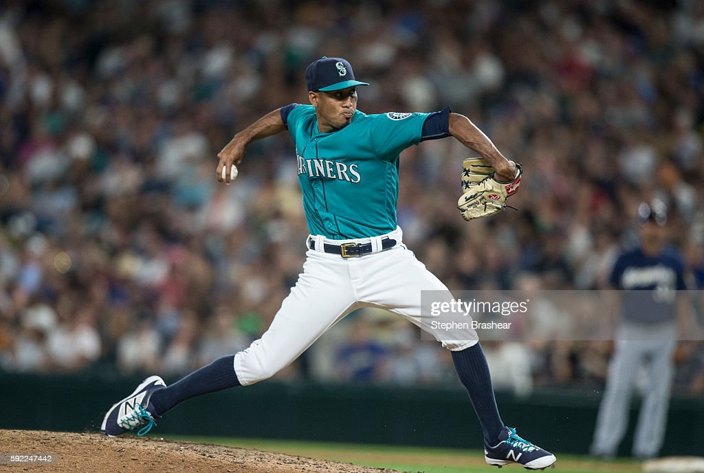 Edwin Diaz #39 of the Seattle Mariners delivers a pitch during the ninth inning of a game against the Milwaukee Brewers at Safeco Field on August 19, 2016 in Seattle, Washington. The Mariners won the game 7-6 and Diaz go the save.