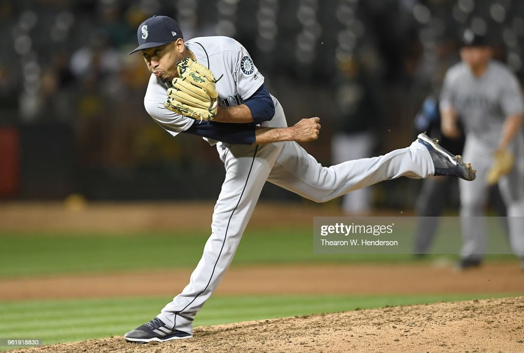 Edwin Diaz #39 of the Seattle Mariners pitches against the Oakland Athletics in the bottom of the ninth inning at the Oakland Alameda Coliseum on May 23, 2018 in Oakland, California. The Mariners won the game 1-0.