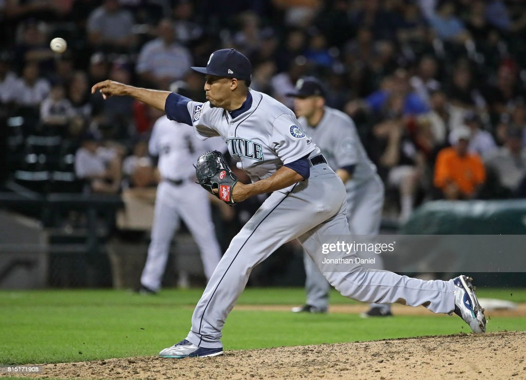 Edwin Diaz #39 of the Seattle Mariners pitches for his 14th save of the season against the Chicago White Sox at Guaranteed Rate Field on July 15, 2017 in Chicago, Illinois. The Mariners defeated the White Sox 4-3.