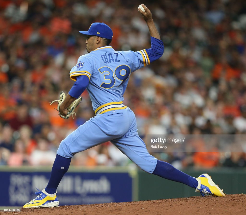 Edwin Diaz #39 of the Seattle Mariners pitches in the ninth inning against the Houston Astros at Minute Maid Park on August 10, 2018 in Houston, Texas.