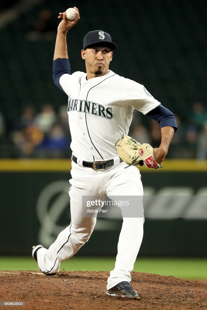 Edwin Diaz #39 of the Seattle Mariners pitches in the ninth inning against the Oakland Athletics at Safeco Field on May 1, 2018 in Seattle, Washington.