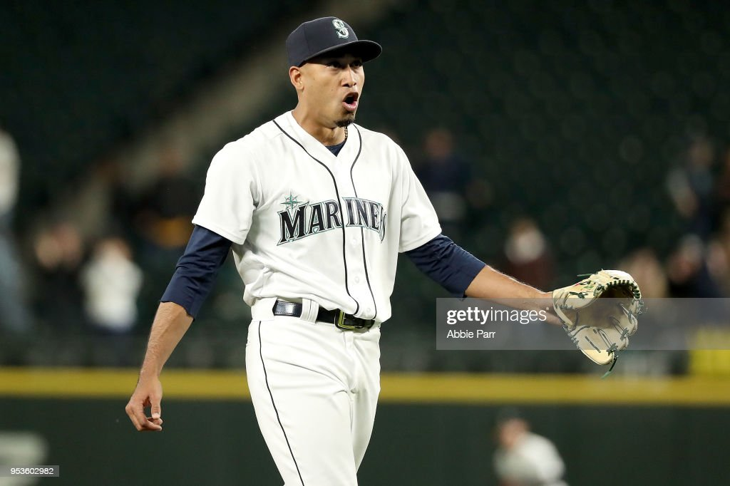 Edwin Diaz #39 of the Seattle Mariners reacts after making the final out in a 6-3 win against the Oakland Athletics at Safeco Field on May 1, 2018 in Seattle, Washington.
