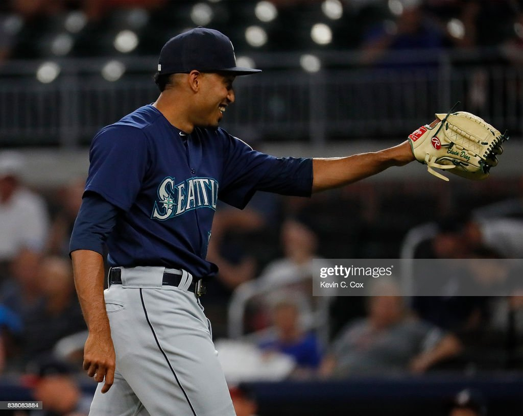 Edwin Diaz #39 of the Seattle Mariners reacts after their 9-6 win over the Atlanta Braves at SunTrust Park on August 23, 2017 in Atlanta, Georgia.